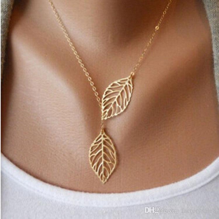Europeo simple de la nueva manera de la vendimia del oro del hueco dos hojas hojas colgantes collar de clavícula joyería del encanto de la cadena de las mujeres del envío gratis