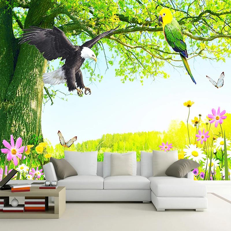 Dropship Custom 3D Wallpaper Classic Nature Scenery Flowers And Birds Murals Living Room TV Sofa Home Decor PVC Waterproof Wall Stickers