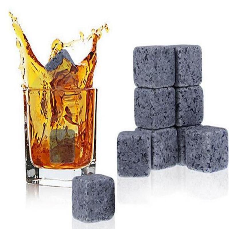 900pcs Yüksek Kalite Doğal Whisky Taşlar Cooler Viski Kaya Soapstone Ice Cube ile Kadife Depolama Kılıfı