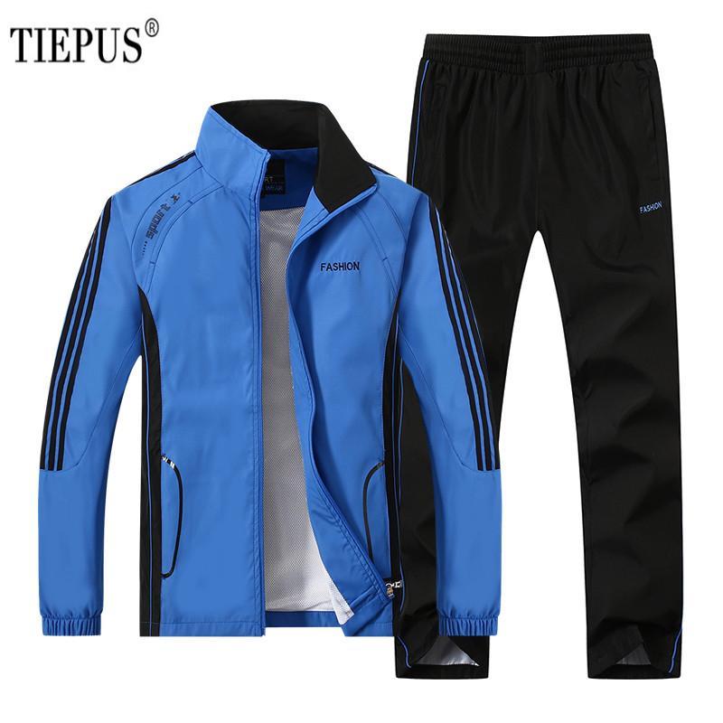 TIEPUS Plus Taille 4XL 5XL Printemps Automne Survêtement Hommes Deux Pièce Vêtements Ensembles Casual Survêtement Sportswear Survêtements YB-T268
