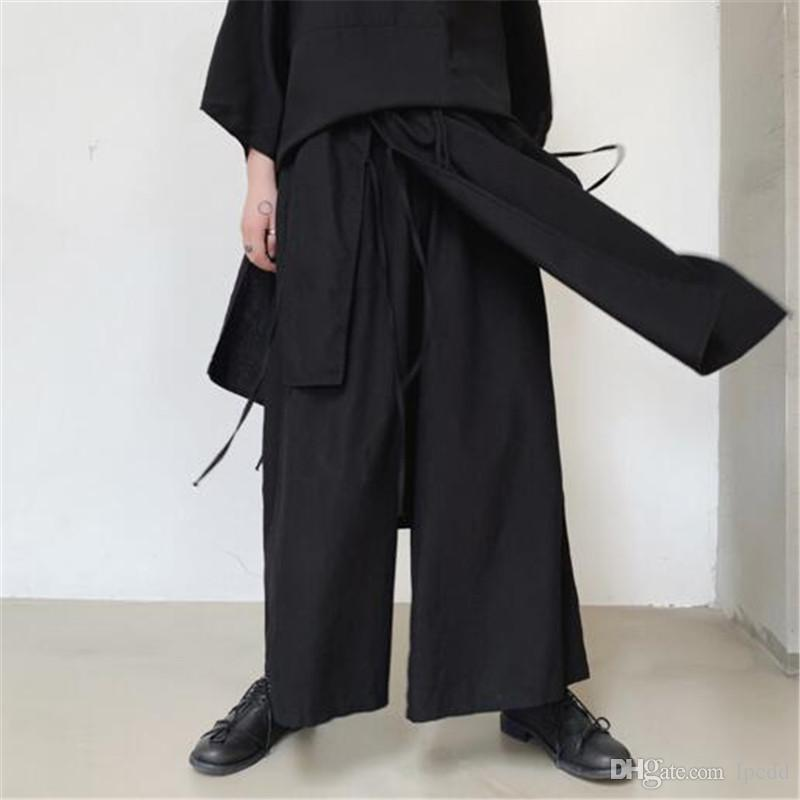 2019 Newest fake two pieces culottes pantalones hombre pure color wide leg pants men casual loose elastic waist pants streetwear trousers