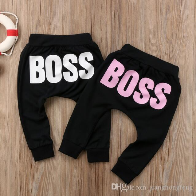 Baby Boys Girls Pants 2019 Hot Letter BOSS Pants Cotton Baby Girls Harem Pants For Baby Casual Trousers Boy Girl Clothes