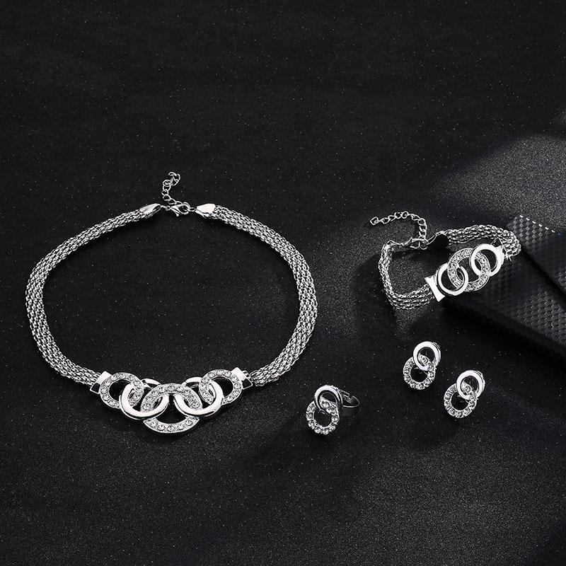 4pcs ensemble boucles d'oreilles collier bague bracelet bijoux cadeau charme pour les femmes dame mariée M8694