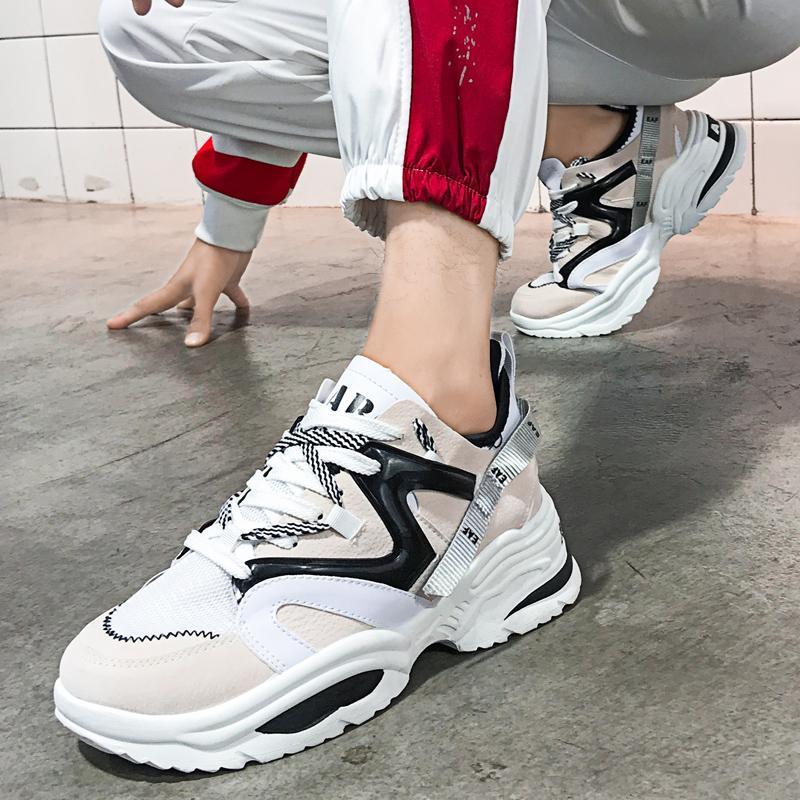 Frühlings-Student, ein Paar Frauen-beiläufige Schuh-Leder Dad Plattform Chunky Sneaker Harajuku Wohnung Thick Sole Tenis Wedge Gehen