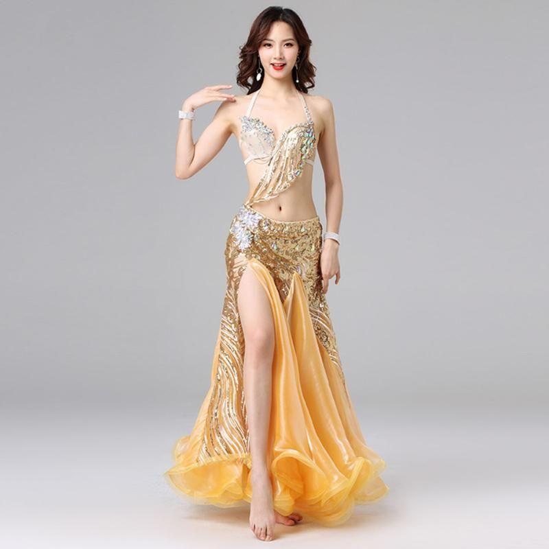 Belly dance dress Set Women Beautiful Bellydance costume Sparkling Sequin Shinning Artificial Diamond Dancing Performance 0018