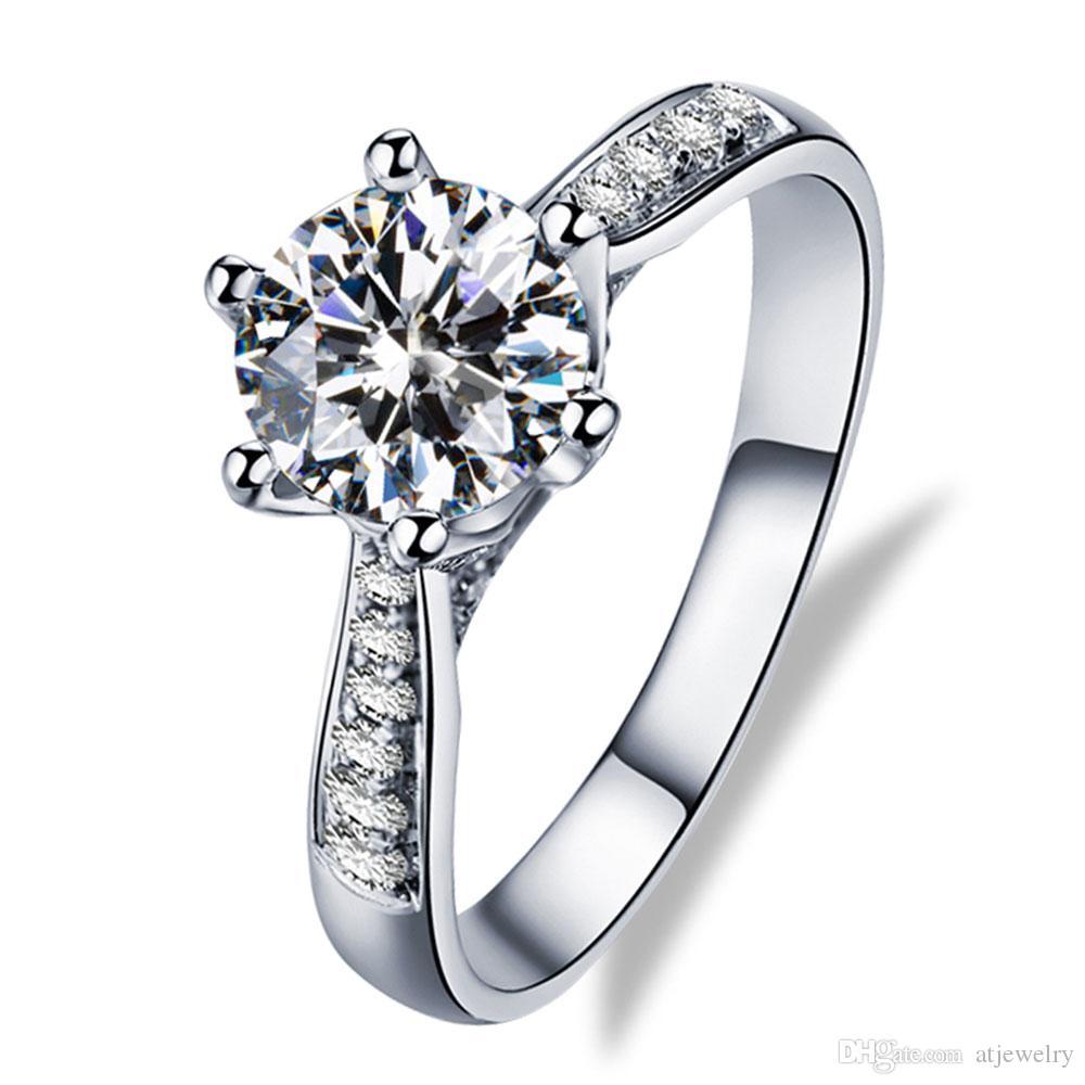 Изготовленная на заказ ювелирная фабрика 18K White Real Solid Gold Rings Moissanite Diamond обручальные кольца для женщин кольца оптом с сертификатом