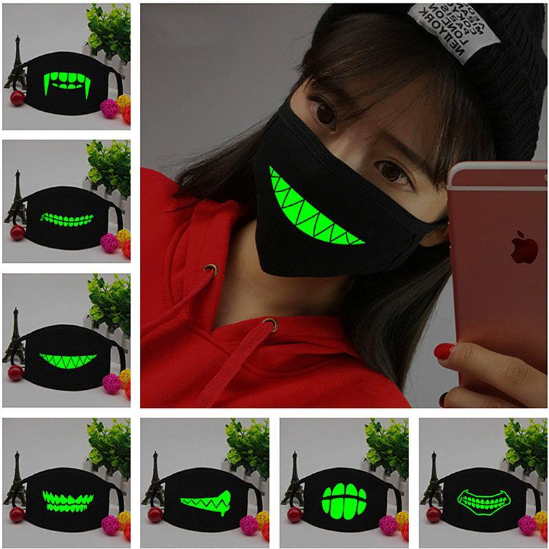Personalità nero volto luminoso maschera scheletro donne a cavallo Coppia antipolvere Moda Denti Glow bocca maschera di Halloween Cosplay 13 colori INS