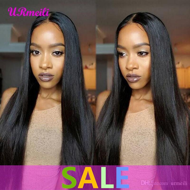 siyah kadın Peruk de cheveux humains DHgate düz Remy saç için 360 insan saçı dantel ön peruk Düz Brezilyalı bakire saç peruk
