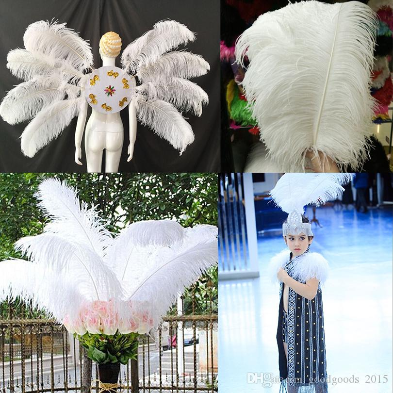 10-12 inch White Ostrich Feathers For Crafts Carnival Party Halloween Wedding Decorations Jewelry plumes DLH236