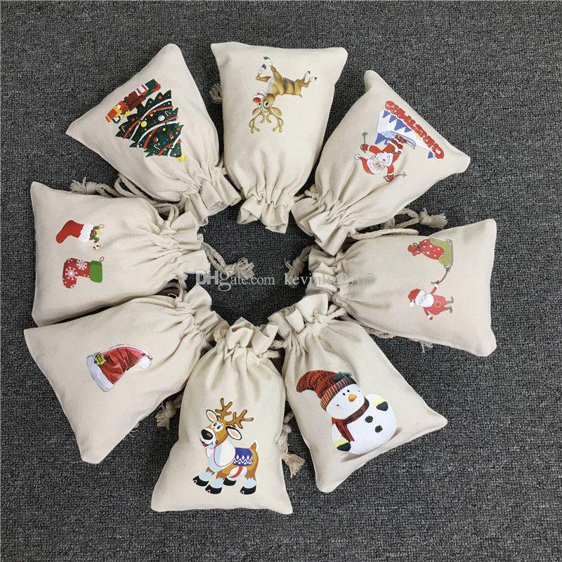 الرباط أكياس عيد الميلاد سانتا مع الرنة ثلج عيد الميلاد تخزين الطباعة قماش سانت أكياس الحلوى هدية حقيبة 08