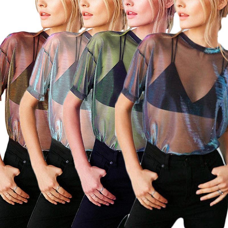 Mulheres Verão T-shirt Casual bonito camiseta transparente malha Tops Sheer T Shirt