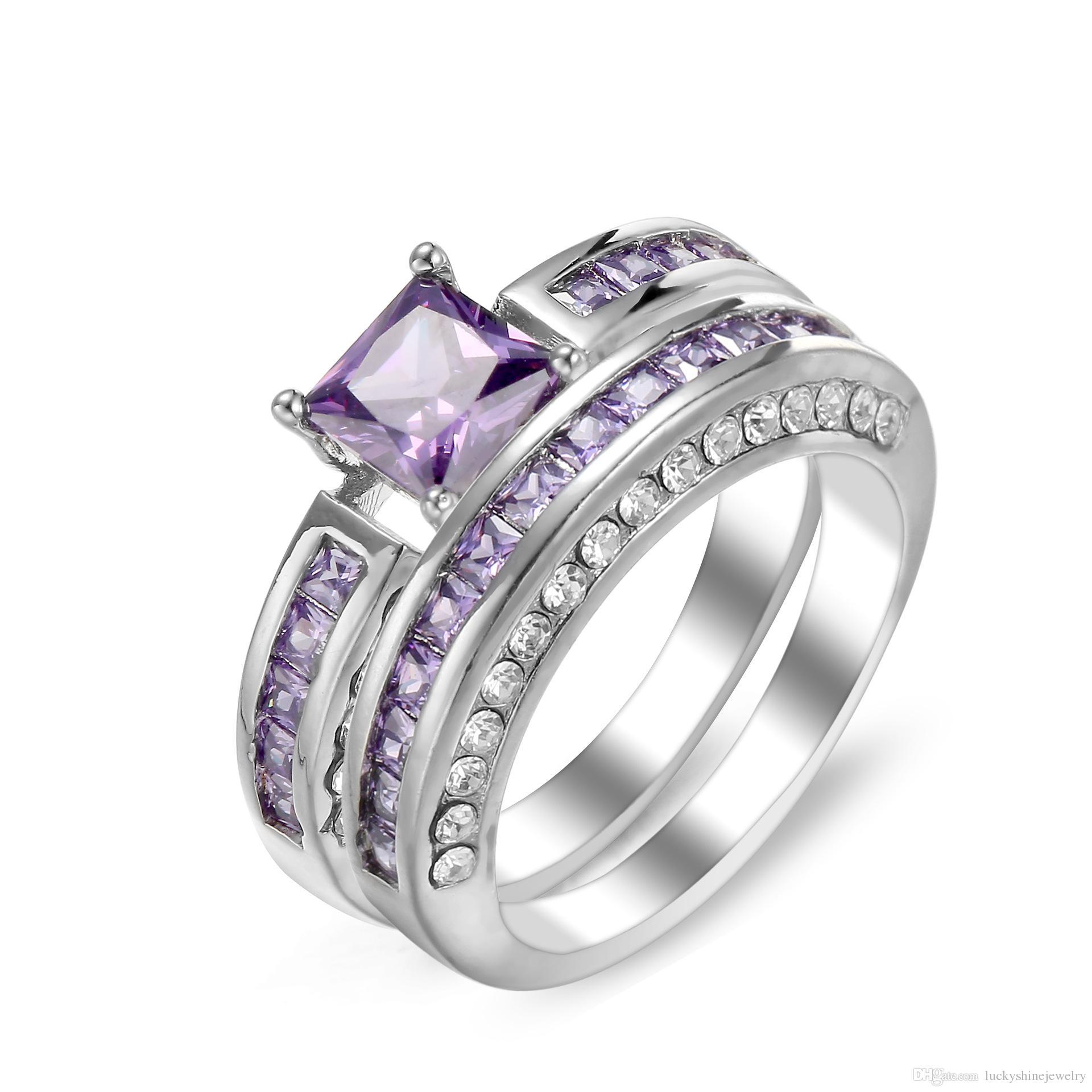 Venta al por mayor 5 Unids / lote LuckyShine 925 Anillo de diamantes de imitación de cristal de plata de la boda de la moda Cubic Zirconia Par de anillos de plata Mujeres Hombres