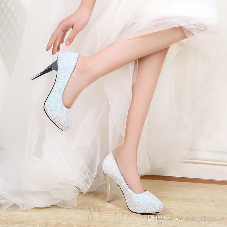 Livraison gratuite printemps femmes bout rond filles plate-forme talon pompes blanc mariage demoiselles chaussures de mariée robes de soirée en cristal taille nous 7