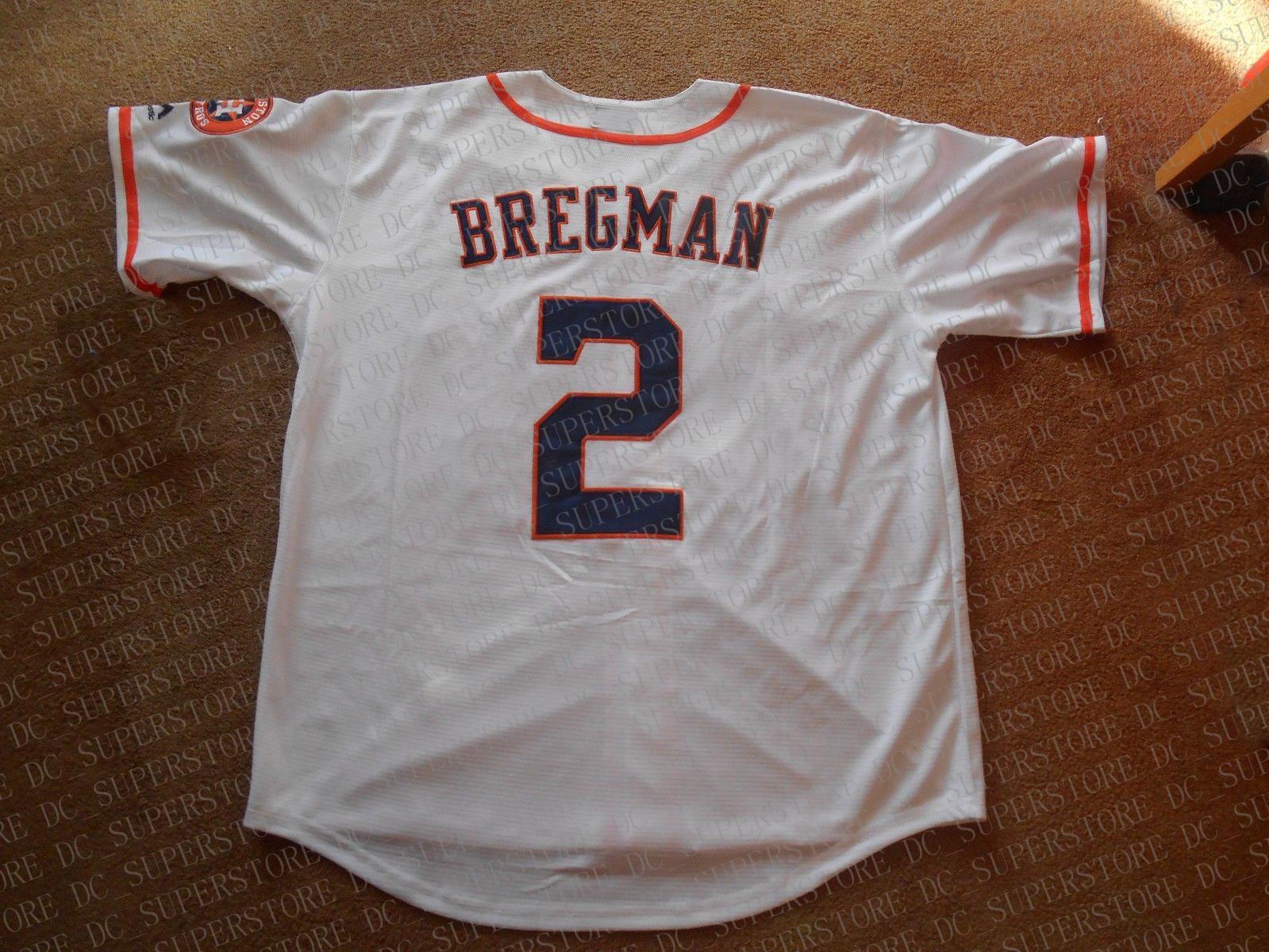100% sur mesure de broderie Alex Bregman # 2 Maillots blanc Cousu Personnaliser un numéro de nom MEN Maillots NCAA JERSEY