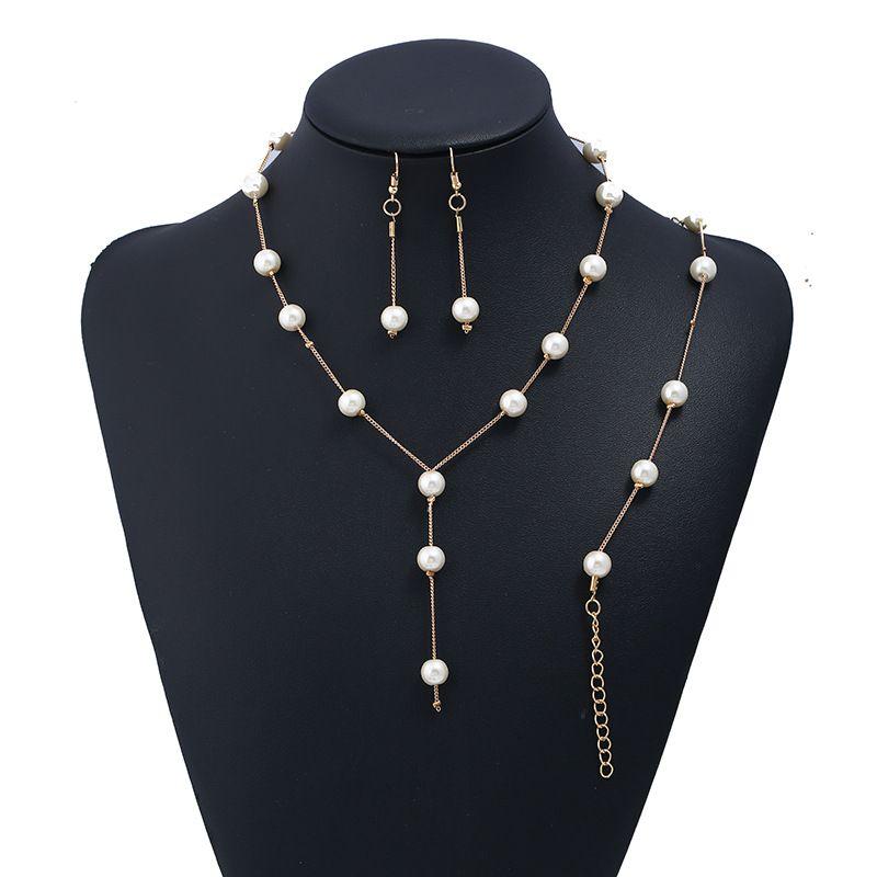 Collana a catena di gioielli in oro creativo oro + 1 coppia orecchini + 1 Pz Braccialetto Set da sposa per perle da sposa per le donne signora femminile