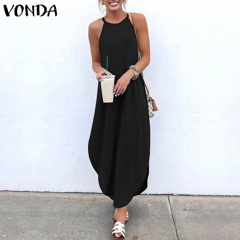 VONDA estate donne Abito senza maniche Backless del partito sexy maxi abiti lunghi Beach Sundress 2020 allentati casuali Vestido Plus Size