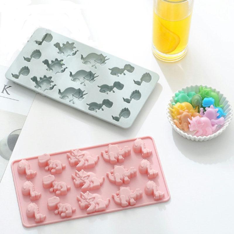 Yapışmaz 15 in 1 dinozor silikon çikolata şeker kalıp buz küpü tepsileri kek sakızları sabun tereyağı kalıpları