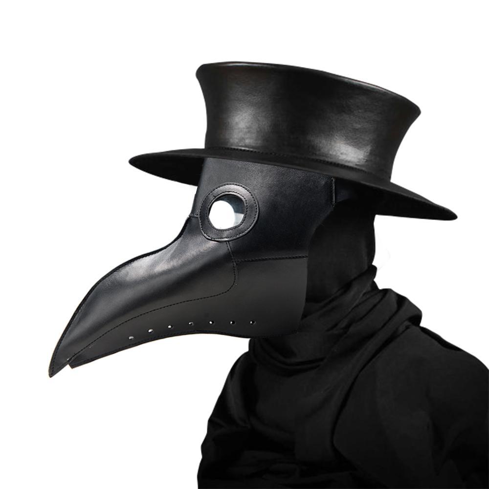 Máscaras médicas de la plaga Máscara del pico del doctor Máscara larga de la nariz Cosplay Máscara de lujo Gótico Retro Piel de rock de Halloween Máscara del pico