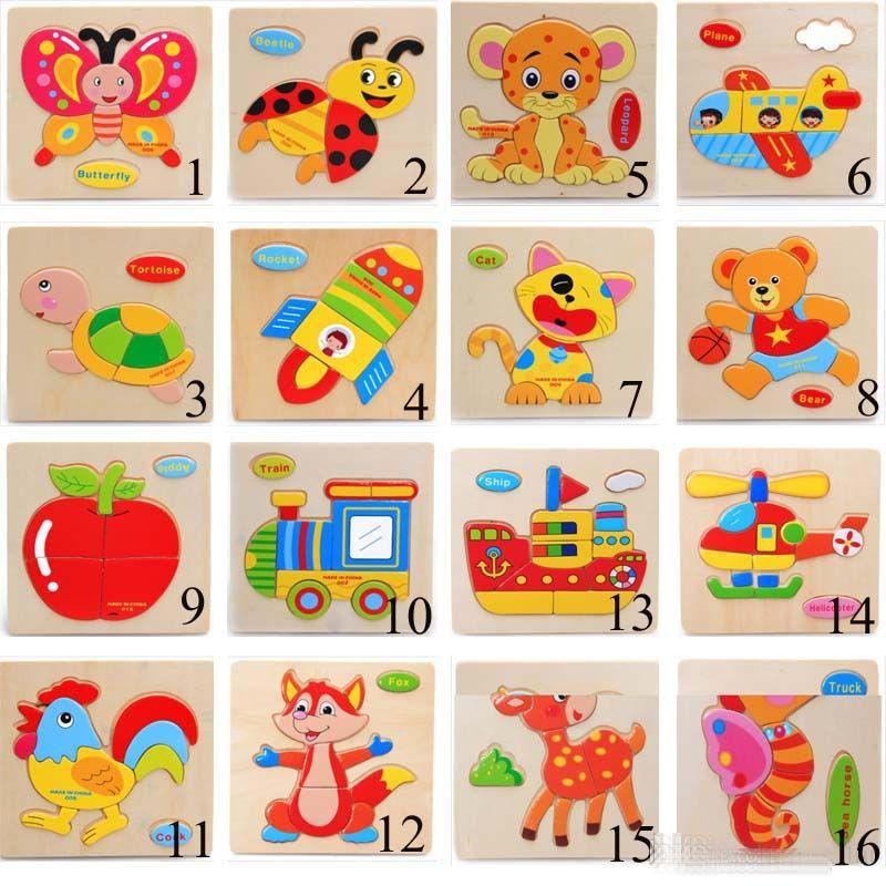 22 لعب الطفل نمط 3D الألغاز بانوراما خشبية للتدريب الأطفال الكرتون الحيوان المرور الألغاز الاستخبارات للأطفال في وقت مبكر لعبة تعليمية C3