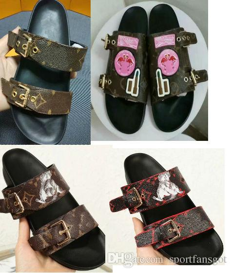 sandales de ceinture en cuir haut Femmes Sandales de créateurs de mode luxe marron avec boîte Sac à poussière Chaussures de Design Chaussures Glissière de Luxe Large Sandales Plates Pantoufle