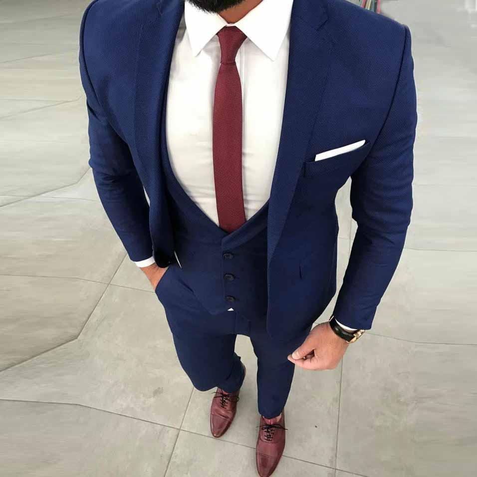 Blue Men Suits Slim Fit Wedding Suits For Men Groom Best Man Party Prom Blazer Casual Street Smart Business Tuxedo terno 3PCS