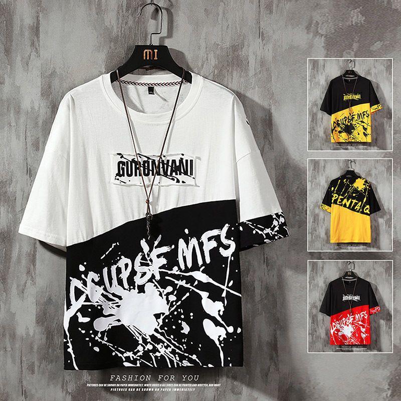 2020 T-Shirt Men Весна хлопок лоскутное рубашку Мужчины хип-хоп футболки с коротким рукавом Top Мужчины Brand Tee Рубашки CX200617