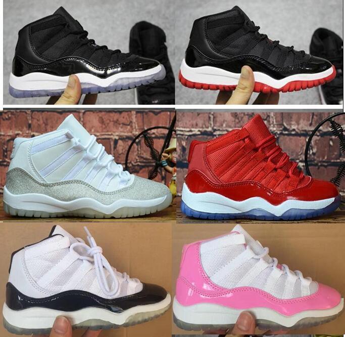 الاطفال 11 11S الفضاء المربى ولدت أحذية كونكورد فضي معدني كرة السلة الأطفال بوي بنات رياضة الأحمر الأبيض الوردي أحذية الأطفال الصغار هدية عيد ميلاد