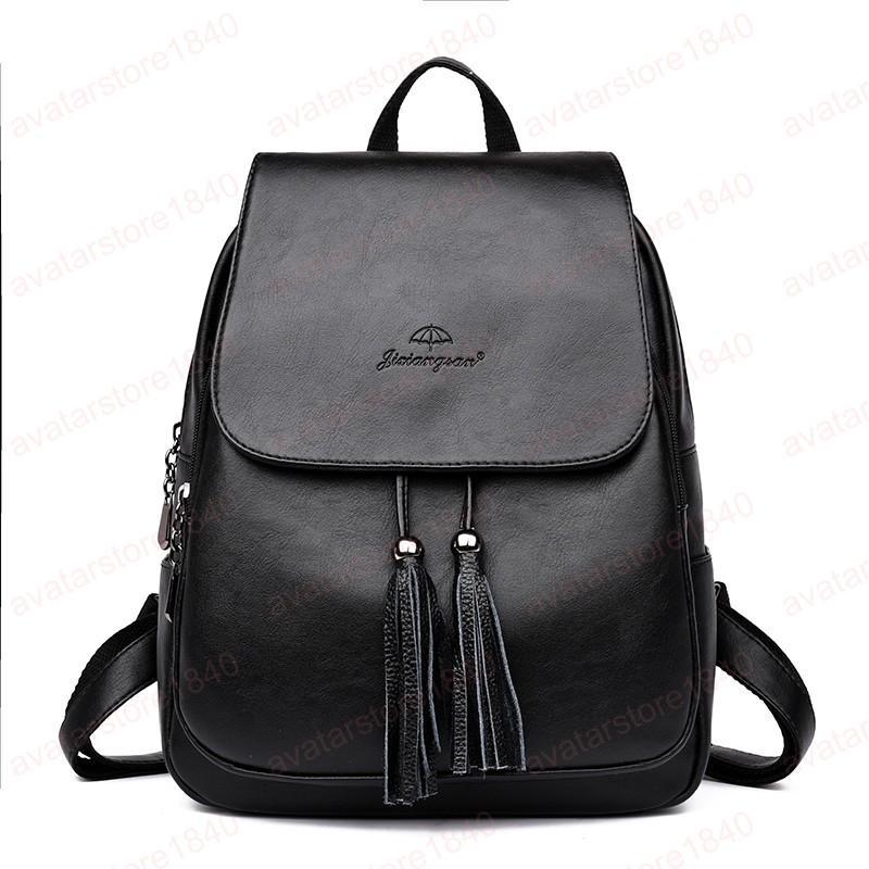 Las mochilas de cuero borlas de la manera de las mujeres jóvenes Mochila alta calidad para el hombro adolescentes que la Escuela Mujer Bolsa Mochila