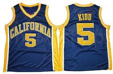 NCAA California Golden Bears universidad # 5 Jason Kidd Universidad Azul marino Baloncesto Jersey de la vendimia cosido Jason Kidd de los jerseys camisas S-XXXL