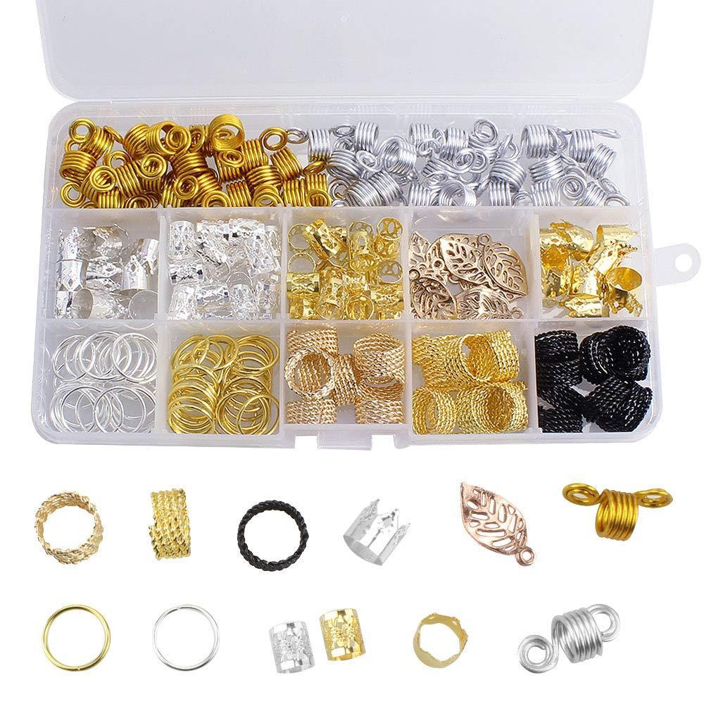 뜨거운! 200 조각 / 많은 알루미늄 헤어 코일 향취 비즈 금속 머리 팔목 Braids 클립 머리 장식 액세서리 스토리지 박스