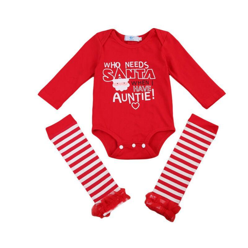 Pudcoco ABD Stok 0-24M Moda Yenidoğan Bebek Kız Bebek Noel Baba Uzun Kollu Romper + Ayak Isıtıcıları 2PCS Kıyafetler Giyim Seti