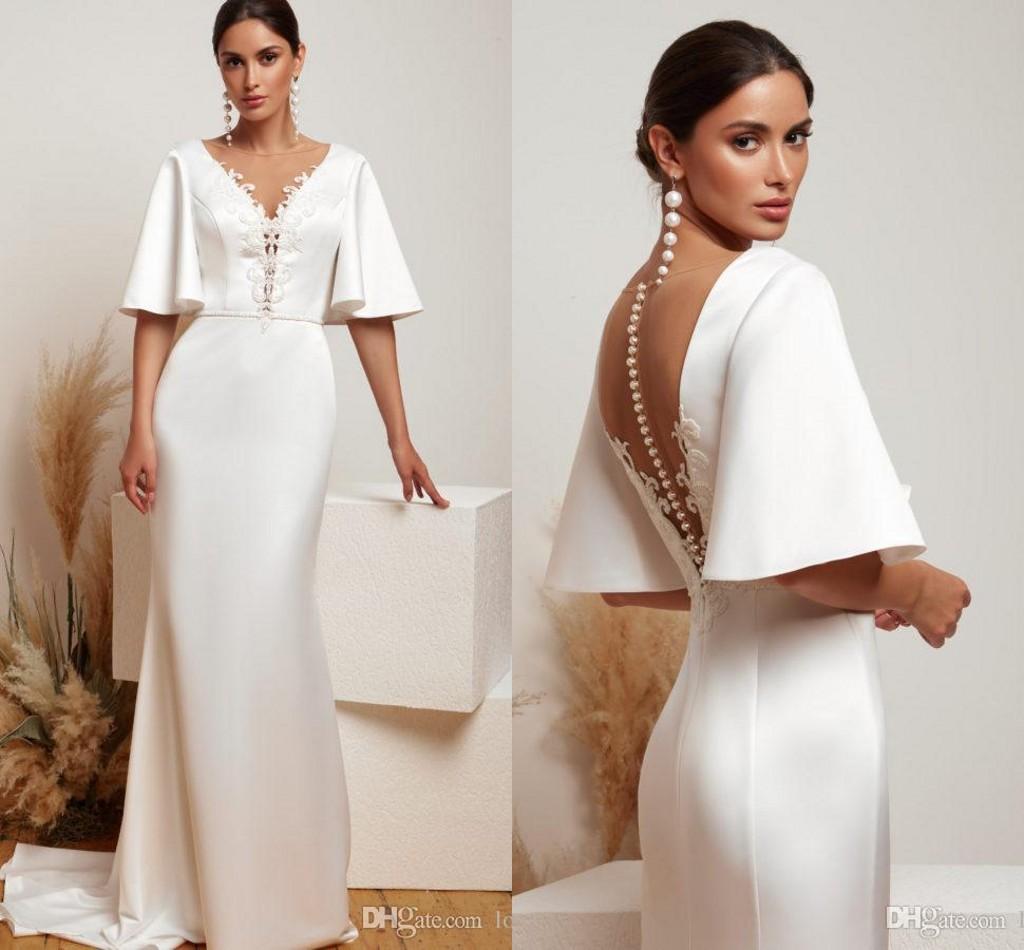 Cheap mermaid vestidos de casamento apliques cetim 1/2 mangas compridas varrer o vestido de noiva da ilusão de volta vestido de noiva vestidos de novia