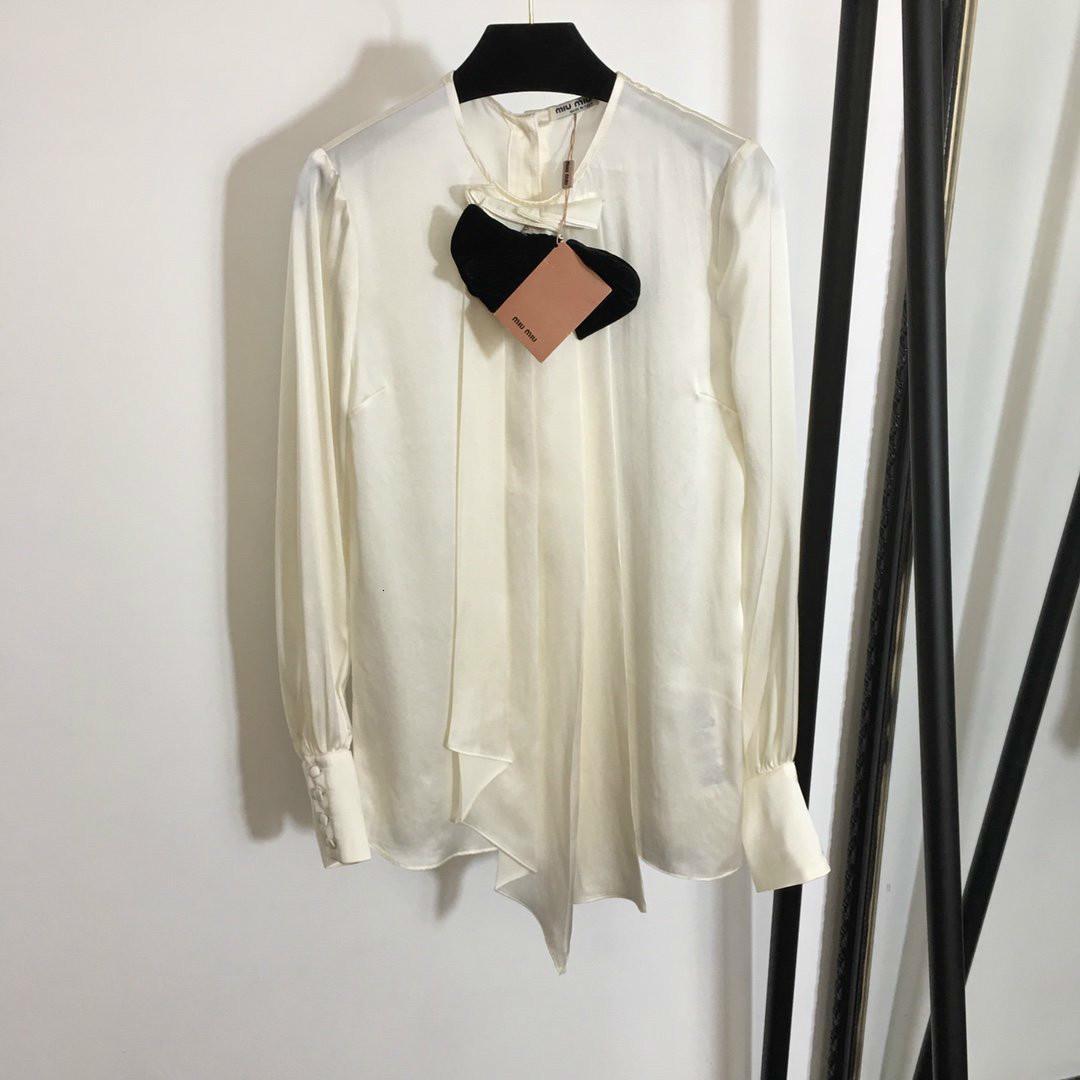 Новый лук украшения нерегулярные подол фонарь с длинным рукавом темперамент шелковая рубашка бежевая блузка