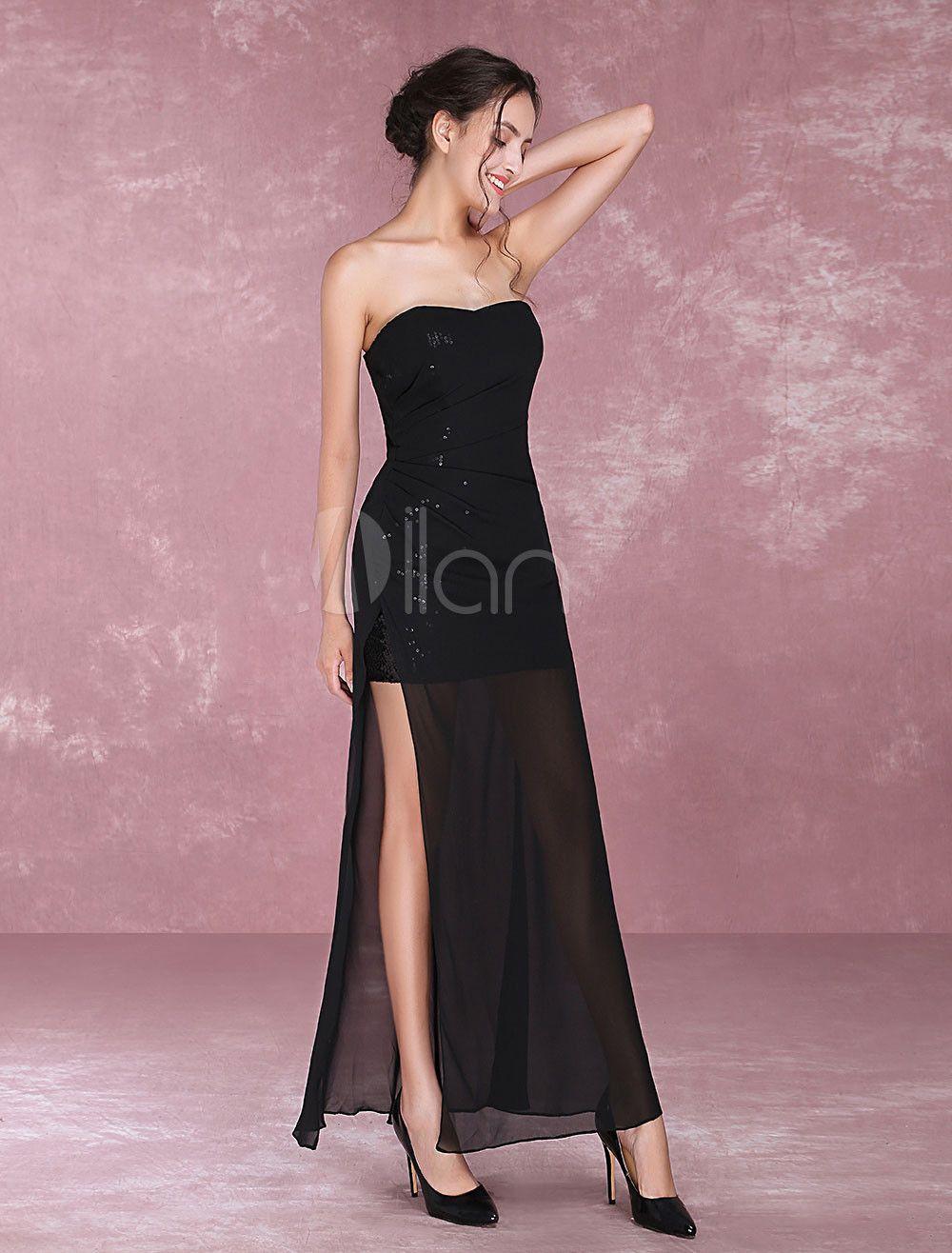 Cheap выпускные платья высокого разреза платье сексуальные черные блестки вечерние платья длинные сексуальные шифоновые вечерние платья партии платья оптом