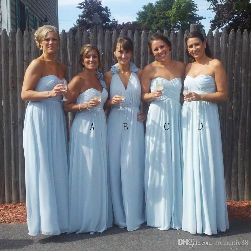Céu claro azul chiffon dama de honra vestidos estilos mistos para casamentos ocidentais do país uma linha pregas longas vestidos de festa de convidado de casamento