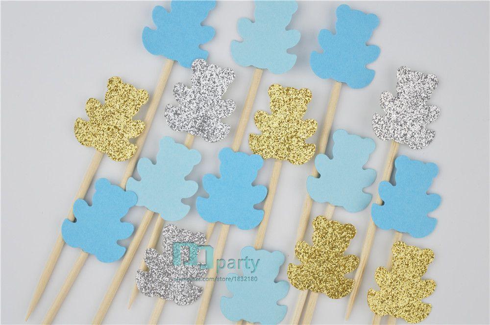 40PCS 곰 컵 케이크 토퍼, 베이비 샤워 토퍼, 컵 케이크 토퍼, 블루 토퍼, 베이비 샤워 태그, 곰 음식 추천, 먹고 추천
