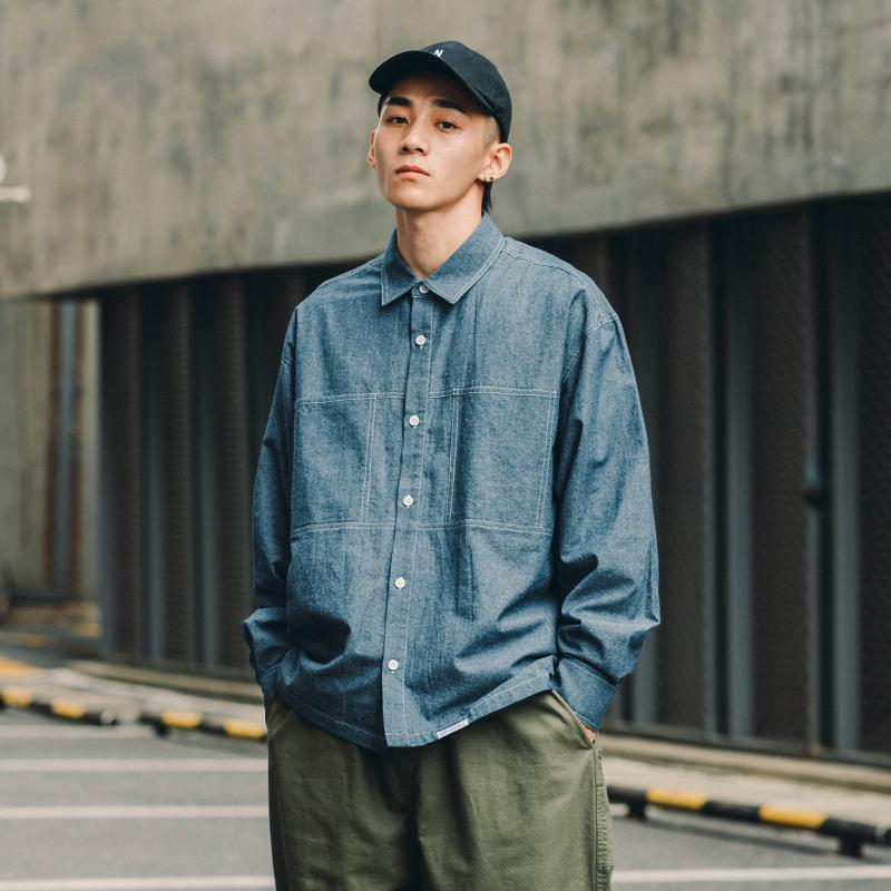 Jeans Men Denim Shirts Long Sleeves Japanese Loose Fashion Shirt Male Spring Autumn Retro Blue Young Mens Casual Shirts 50CS