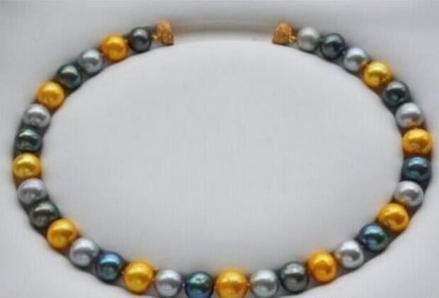 SPEDIZIONE GRATUITA + 18 pollici south sea south multicolor collana di perle rotonde