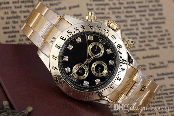 Relojes de los hombres de gama alta del vestido del diseñador de moda Negro Dial Calendario de oro pulsera hebilla desplegable de lujo del reloj automático mecánico automático Wi