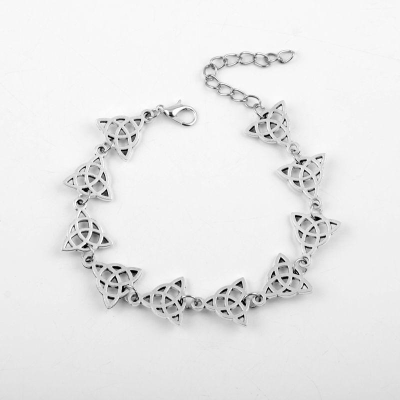 Pulseras del encanto del triángulo de plata antigua irlandesa Celtics nudo de Triquetra Magia Wicca de Viking brazaletes de la joyería Pagan Nudos