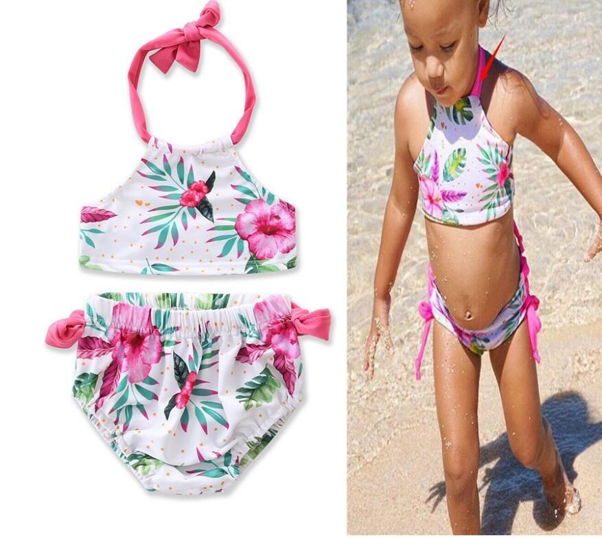 2019 neue Kinderkleidung Baby Kinderkleidung Sommer Bademode Ins Explosionen Mädchen Blumen hängenden Hals Bikini