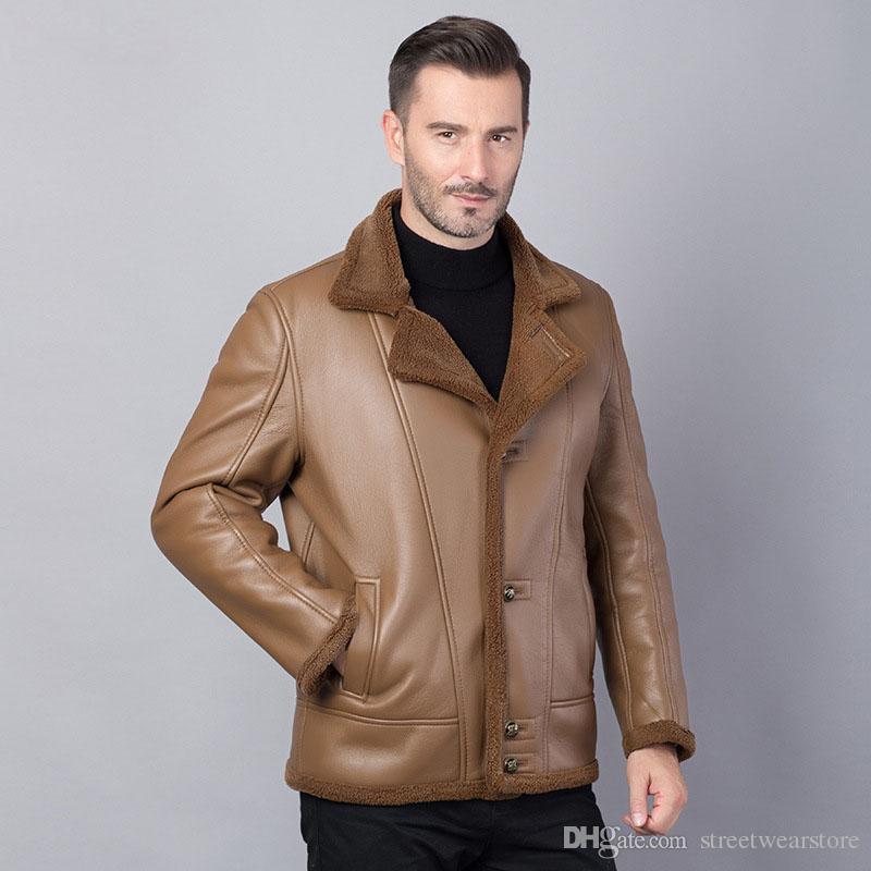 Hommes PU Cuir Une Fourrure Épaisse Chaud Outwear Homme Veste et Manteaux Pour L'hiver Turn Down Collar Vêtements Casual