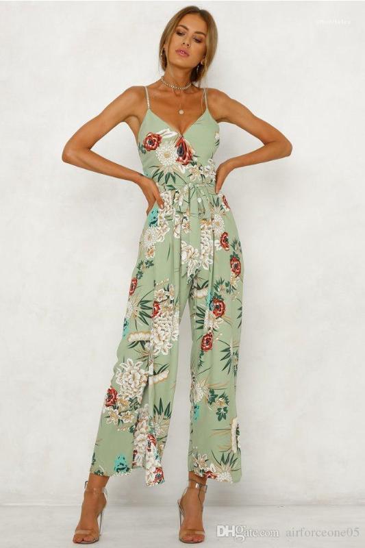 Torna scava fuori Sashes signore tuta del nuovo progettista stampa della flora Breif abbigliamento moda casual pagliaccetti V Necck
