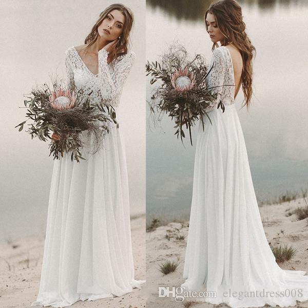 Praia Bohemian Vestidos de noiva A-line Chiffon Lace V-Neck mangas compridas Backless drapeado do vestido de casamento do vestido nupcial Illusion corpete Vestidos