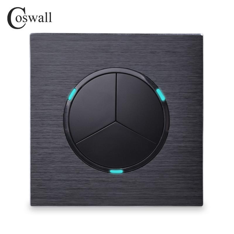 Coswall Lüks 3 Gang 1 Way Rastgele TIKLAYIN / LED Göstergesi Siyah Alüminyum Metal Panel Y200407 ile Kapalı Duvar Işık Anahtarı