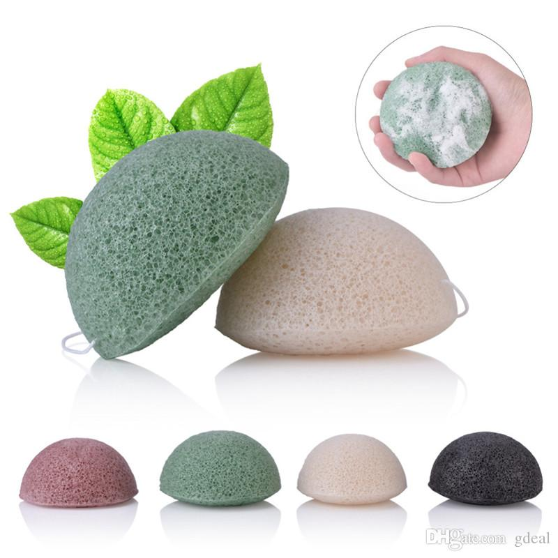 Konjac Esponja Puff Esponjas faciales Pure Natural Konjac Fibra vegetal que hace herramientas de limpieza para la cara y el cuerpo 10pcs