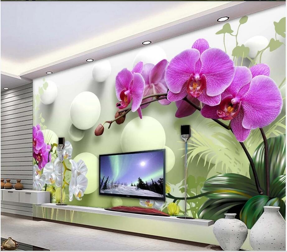Photo personalizado 3D papel de parede mural HD Phalaenopsis 3d estereofonto tevê flor flor sala de estar sofá fundo casa decoração parede arte 3d adesivos