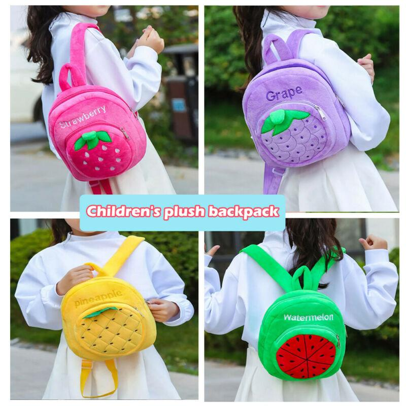 Toddler Baby Strawberry Fruits Soft Backpack Cartoon Plush Book Bag Kids Gifts