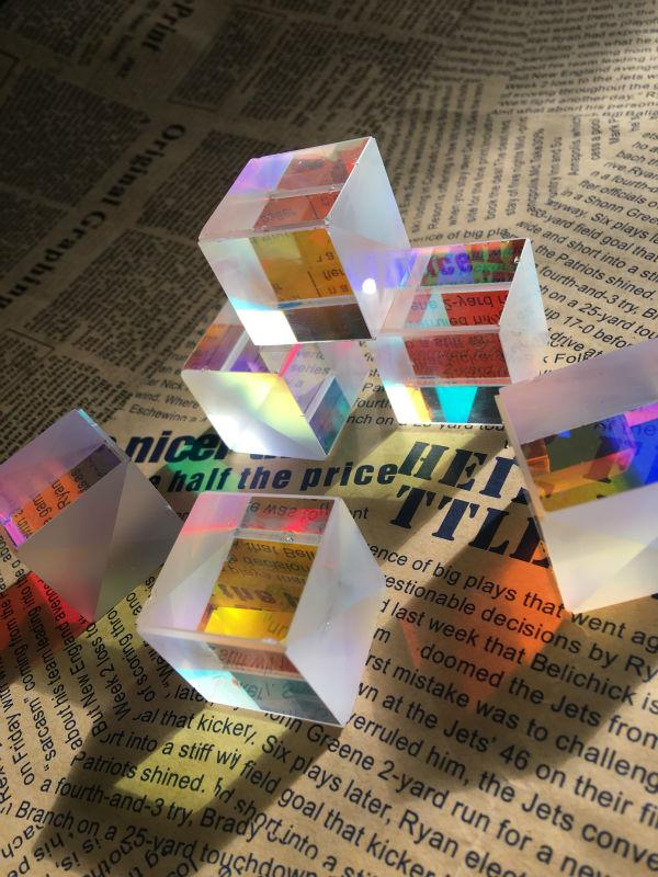Freeshipping 6PCS 2.2x2.2x2.3cm Defective Optical Glass Prism Cross Dichroic X-Cube Prisms RGB Combiner or Splitter Prism