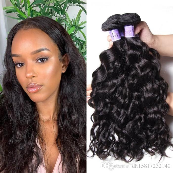 TKWIG 7a indian unprocessed natural wave product grade 4 bundles lace front for black women synthetic
